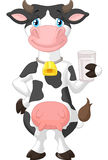 Leuk koebeeldverhaal die een glas melk houden Royalty-vrije Stock Afbeelding