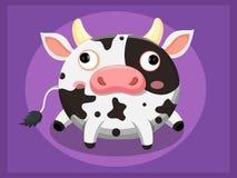 Leuk koebeeldverhaal Grappig beeldverhaal en vector dierlijke karakters Stock Foto