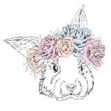 Leuk konijn in een kroon van bloemen Konijnvector Stock Afbeelding