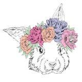 Leuk konijn in een kroon van bloemen Konijnvector Royalty-vrije Stock Foto's