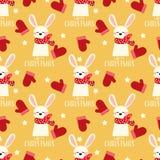 Leuk konijn met rood bosje, ster en het Gelukkige naadloze patroon van de Kerstmistekst stock illustratie