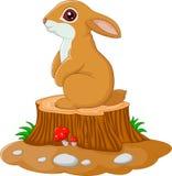 Leuk konijntje die zich op boomstomp bevinden stock illustratie