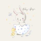 Leuk konijntje en kuiken met de slogan van de babyjongen Royalty-vrije Stock Afbeeldingen