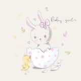 Leuk konijntje en kuiken met de slogan van het babymeisje Royalty-vrije Stock Fotografie