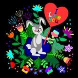 Leuk konijntje met bloemenachtergrond en plaat met lege ruimte voor tekst stock illustratie
