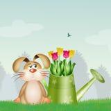 Leuk konijntje met tulpen Royalty-vrije Stock Foto's