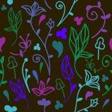 Leuk krabbel bloemen naadloos patroon stock illustratie