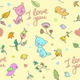 Leuk krabbel bloemen naadloos patroon met katten en vogels royalty-vrije illustratie