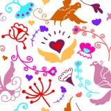 Leuk krabbel bloemen naadloos patroon met vogels stock illustratie