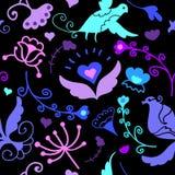 Leuk krabbel bloemen naadloos patroon met vogels royalty-vrije illustratie