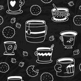 Leuk krabbel naadloos patroon met koppen, koekjes en suiker Stock Afbeelding
