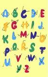 Leuk krabbelalfabet Kinderachtige DIY-kleurendoopvont stock illustratie