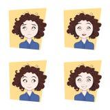 Leuk Krullend Meisje met Verschillende Gezichtsemotiesreeks Jonge Uitdrukkingen van het Vrouwengezicht Royalty-vrije Stock Afbeeldingen