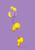 Leuk kuiken met ballons Royalty-vrije Stock Foto's