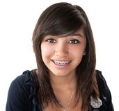 Leuk Latino Meisje dat met Steunen glimlacht stock afbeeldingen