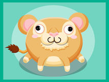 Leuk leeuwbeeldverhaal Grappig beeldverhaal en vector dierlijke karakters Stock Foto's