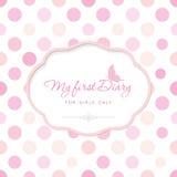 Leuk malplaatje voor notitieboekjedekking voor meisjes Mijn eerste Agenda Elegant kader met vlinder op stip kan worden gebruikt v Stock Afbeeldingen
