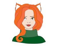 Leuk manier foxy meisje met rood haar op witte achtergrond Stock Afbeelding