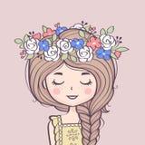 Leuk meisje in bloemkroon Mooi meisje met vlecht en bloemen stock illustratie