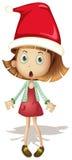Leuk Meisje dat de Hoed van de Kerstman draagt vector illustratie
