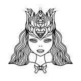 Leuk meisje, de affiche van de handtekening, T-shirtdruk, beeldverhaalkarakter, boekillustraties voor kinderen royalty-vrije illustratie