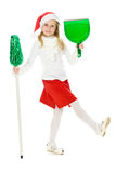 Leuk meisje in de hoed van de Kerstman royalty-vrije stock foto