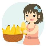 Leuk Meisje die de Vector van het Banaanbeeldverhaal eten vector illustratie