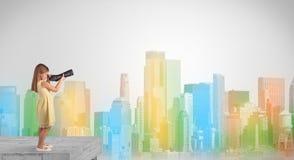 Leuk meisje die door kijker aan een grote kleurrijke stad kijken stock illustratie