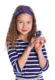 Leuk meisje die een hamster houden royalty-vrije stock foto