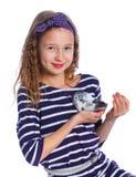 Leuk meisje die een hamster houden royalty-vrije stock foto's