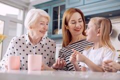 Leuk meisje die grappig verhaal vertellen aan haar moeder en grootmoeder stock afbeeldingen