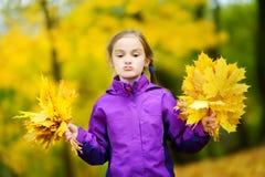 Leuk meisje die grappige gezichten op mooie de herfstdag maken bij stadspark Grappige kind het plukken de herfstbladeren op zonni Royalty-vrije Stock Afbeeldingen