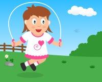 Leuk Meisje die met Kabel in het Park overslaan stock illustratie