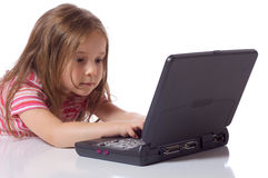 Leuk meisje met laptop Stock Afbeelding