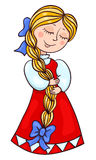 Leuk meisje in het Russische kostuum Stock Fotografie