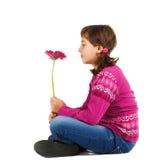 Leuk meisje met bloem Stock Foto