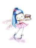 Leuk meisje met cake а Royalty-vrije Stock Afbeeldingen