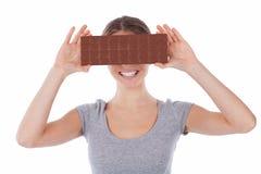 Leuk meisje met chocolade Royalty-vrije Stock Afbeelding