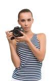 Leuk meisje met de camera Royalty-vrije Stock Afbeelding