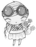 Leuk meisje met de druk van de bloemt-shirt Stock Afbeelding