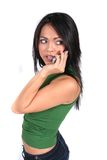 Leuk Meisje met de Telefoon van de Cel Royalty-vrije Stock Foto's