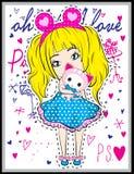 Leuk meisje met dier Royalty-vrije Stock Afbeeldingen