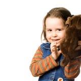 Leuk meisje met een stuk speelgoed Royalty-vrije Stock Afbeeldingen