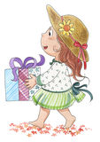 Leuk meisje met gift-waterverf Stock Afbeeldingen