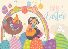 Leuk meisje met grappige kippen en konijnen Gelukkige Pasen stock illustratie
