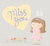 Leuk meisje met grote hart en het van letters voorzien juffrouw u vector illustratie