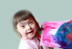 Leuk meisje met het schilderen Stock Fotografie