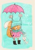 Leuk meisje met hond en paraplu stock illustratie