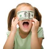 Leuk meisje met papiergeld - dollars royalty-vrije stock afbeelding