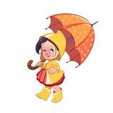 Leuk meisje met paraplu royalty-vrije illustratie